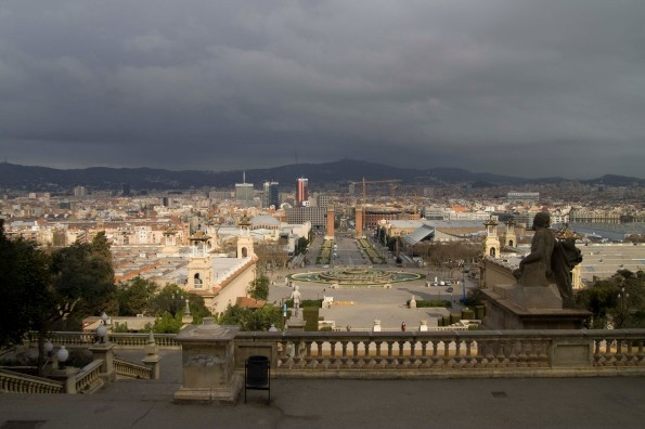 Barcelona is partly cloudy today. On top of the hill, this is what she looks like.